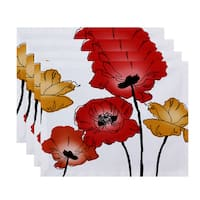18x14-inch, Poppies, Floral Print Placemat (Set of 4)