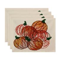 18x14-inch, Pumpkin Pile, Geometric Print Placemat (Set of 4)