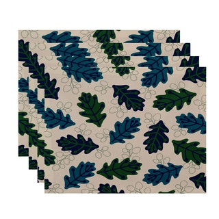 18x14-inch, Retro Leaves, Floral Print Placemat (Set of 4)