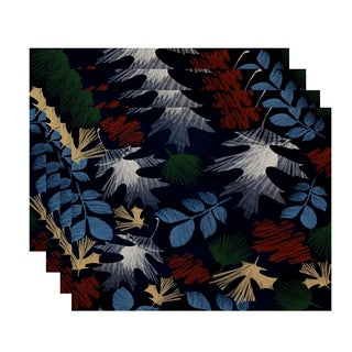 18x14-inch, Watercolor Leaves, Floral Print Placemat (Set of 4)