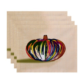 18x14-inch, Wax Pumpkin, Geometric Print Placemat (Set of 4)