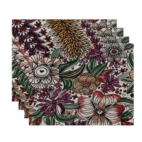 18x14-inch, Zentangle Floral, Floral Print Placemat (Set of 4)