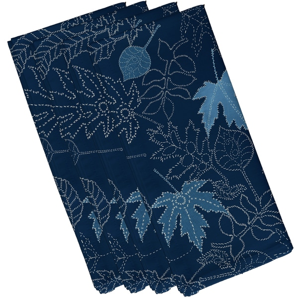 19 x 19-inch, Dotted Leaves, Floral Print Napkin (Set of 4)