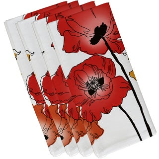 19 x 19-inch, Poppies, Floral Print Napkin (Set of 4)
