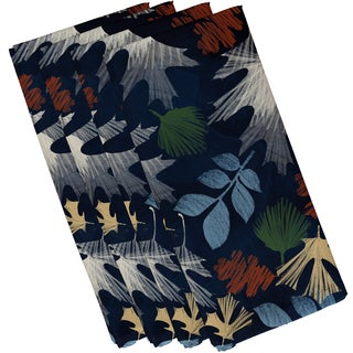 19 x 19-inch, Watercolor Leaves, Floral Print Napkin (Set of 4)