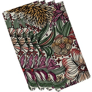 19 x 19-inch, Zentangle Floral, Floral Print Napkin (Set of 4)