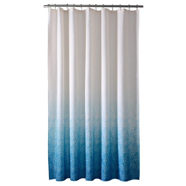 Bath Bliss Polyester Lace Printed Ombre Shower Curtain in Blue