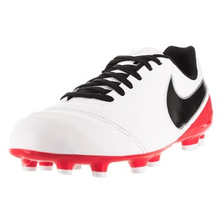Nike Kid's Jr Tiempo Legend Vi Fg White/Black/Brightt Crimson/Mlc Sl Soccer Cleat