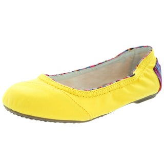 Toms Kids Yellow Canvas And Woven Casual Ballet Flat Shoe