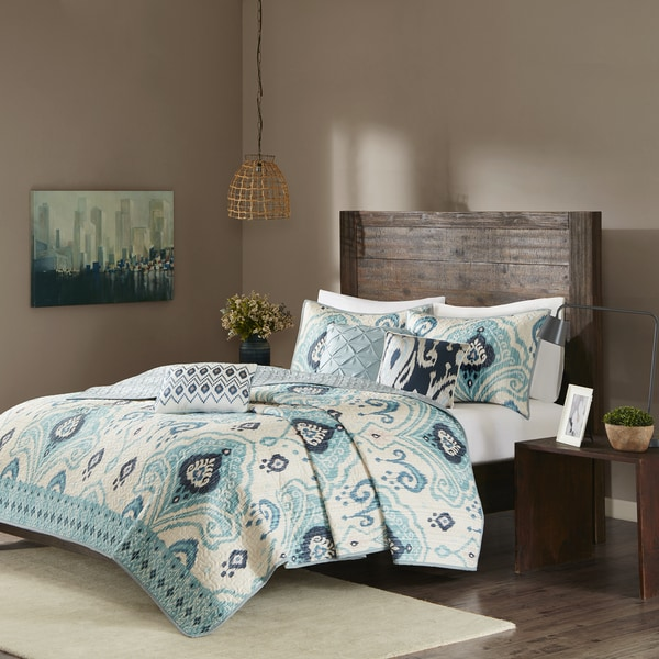 Madison Park Sabina Blue 5-piece Quilted Coverlet Set