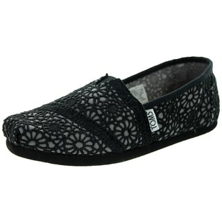 Toms Kid's Classic Black Medium-width Crochet Casual Shoes (Option: 5.5)