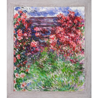 Claude Monet 'The House Among the Roses, 1925' Hand Painted Framed Canvas Art