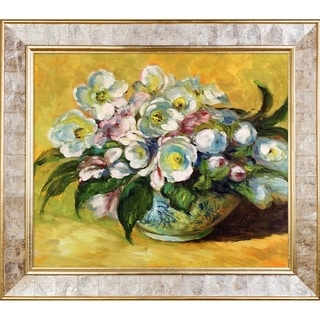 Claude Monet 'Christmas Roses, 1883' Hand Painted Framed Canvas Art