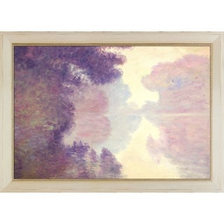 Claude Monet 'Misty Morning on the Seine (pink), 1897' Hand Painted Framed Canvas Art