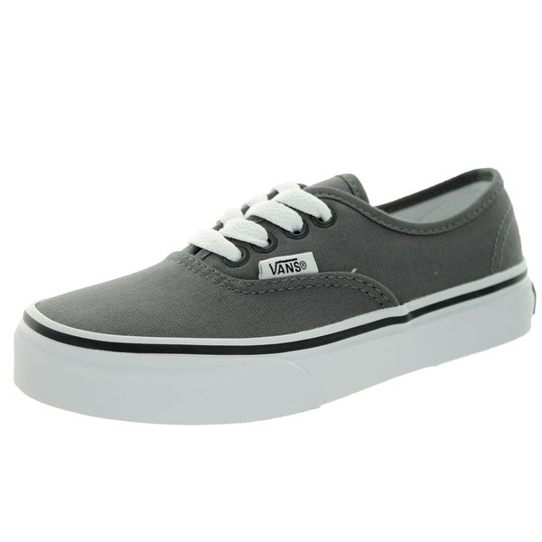 Shop Vans Kid s Authentic Pewter Black Skate Shoe - Free Shipping On ... c3f1d4c45