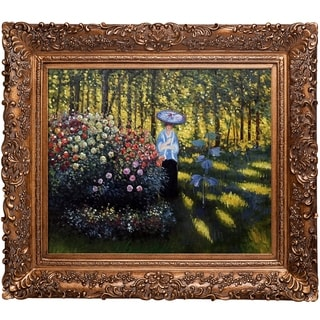 Claude Monet 'Woman with a Parasol in the Garden in Argenteuil' Hand Painted Framed Canvas Art