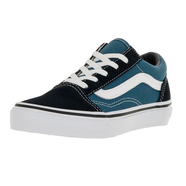 18d37f0375 Shop Vans Kid s Old Skool Navy True White Skate Shoe - Free Shipping ...