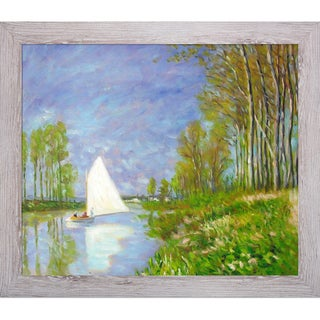Claude Monet 'Small Boat on the Small Branch of the Seine at Argenteuil' Hand Painted Framed Canvas Art