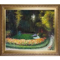 Claude Monet 'In the Garden' Hand Painted Framed Canvas Art