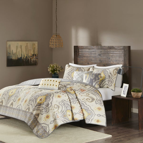 Madison Park Sabina Yellow Quilted Coverlet Set