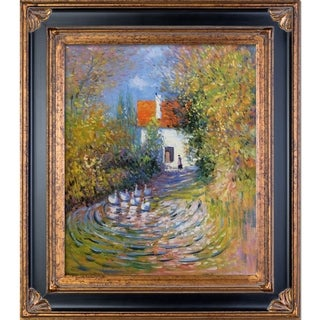 Claude Monet 'Geese in the Creek' Hand Painted Framed Canvas Art