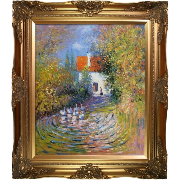 Claude Monet 'Geese in the Creek' Hand Painted Framed Canvas Art. Opens flyout.