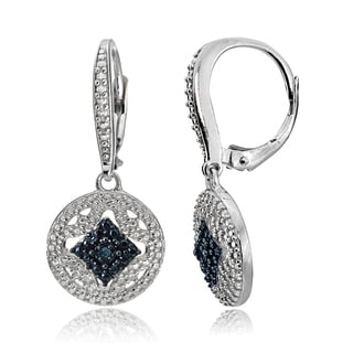 DB Designs Silver Black or Blue Diamond Accent Filigree Dangle Earrings