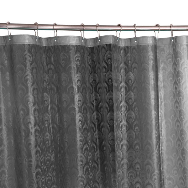 Bath Bliss 3D Peacock Design Shower Curtain in Grey