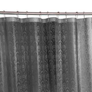 Bath Bliss 3D Peacock Design Shower Curtain in Grey