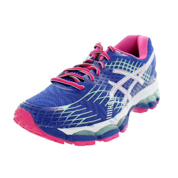 794a5fa8ca2 Shop Asics Women s Gel-Nimbus 17 Deep Blue White Hot Pink Running ...