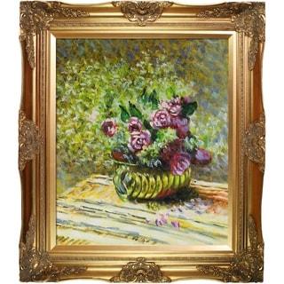 Claude Monet 'Flowers in a Pot' Hand Painted Framed Canvas Art