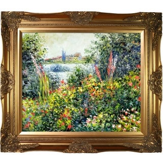 Claude Monet 'Flowers at Vetheuil' Hand Painted Framed Canvas Art