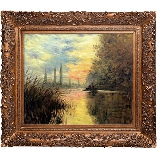 Claude Monet 'Evening at Argenteuil' Hand Painted Framed Canvas Art