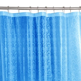Bath Bliss 3D Peacock Design Shower Curtain in Light Blue