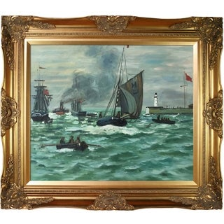 Claude Monet 'Entrance to the Port of Honfleur' Hand Painted Framed Canvas Art