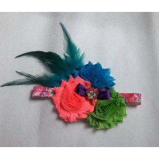 Shabby Chic Floral Feather Headband