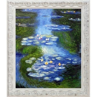 Claude Monet 'Water Lilies' (blue-green) Hand Painted Framed Canvas Art