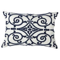 Blue and White Polyester 14-inch x 20-inch Embroidered Throw Pillow