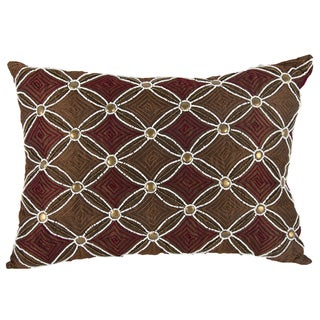 Brown 14-inch x 20-inch Polyester/Silk Embellished Throw Pillow