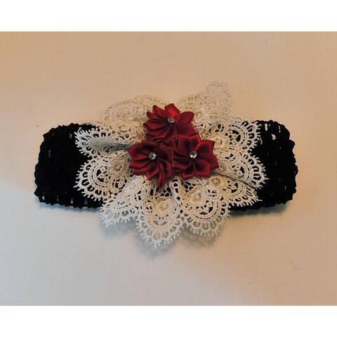 Vintage Style Black-Ivory-Red Headband