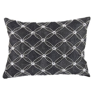 Poly Silk Embellished Grey Geometric Accent Throw Pillow (14 x 20)