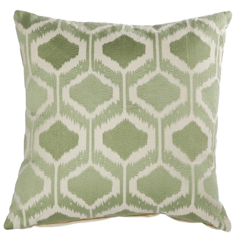 A&B Home Green Cotton 18-inch Embroidered Throw Pillow