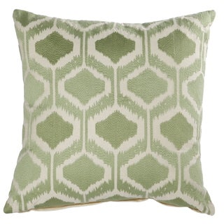 Green Cotton 18-inch x 18-inch Embroidered Throw Pillow