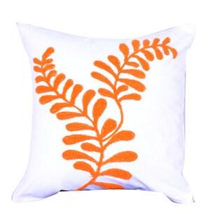 White/Orange Cotton-blended Square Embroidered Throw Pillow