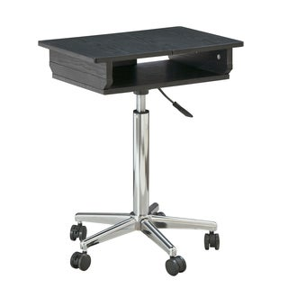Chrome and Wood Adjustable Height Laptop Stand