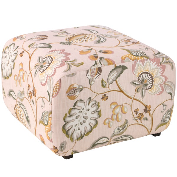 Angelo Home Cocktail Ottoman In Sweet Nothings Rose Free