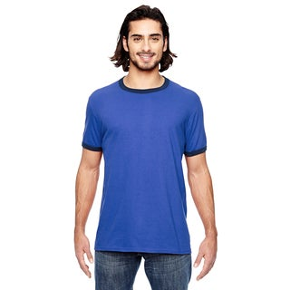 Trim Fit Mens' Heather Blue/Triblend Navy Jersey T-shirt