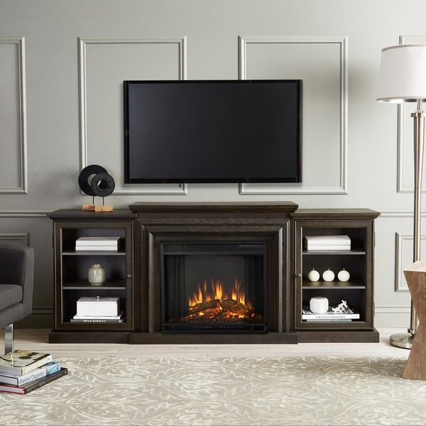 wood pin overstock cart added fireplace tv to electric highboy driftwood inch stand