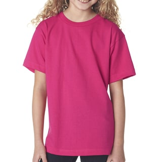 Girls' Bright Pink Cotton Short-sleeve T-shirt