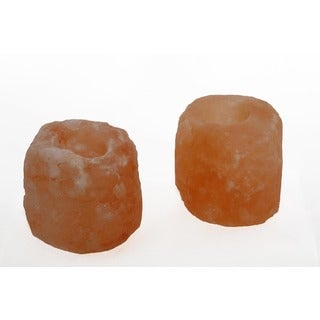 Accentuations by Manhattan Comfort Natural Crystal Himalayan Salt Candle Holder (Set of 2)